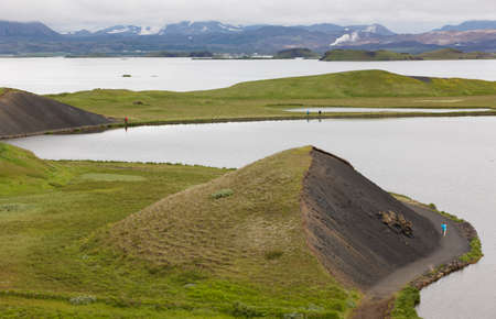 Lake and lava formations landscape in  Myvatn Iceland  photo