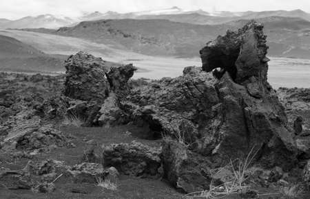 Lava formations and mountains in desertic landscape Iceland photo