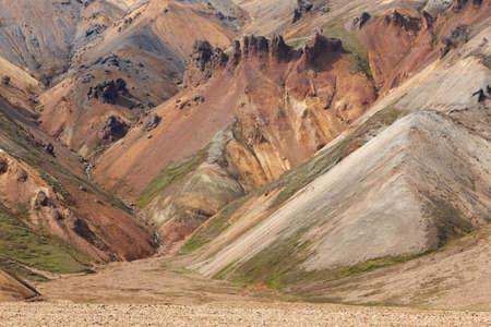 volcanic landscape: Volcanic landscape with rhyolite formations at Fjallabak Iceland