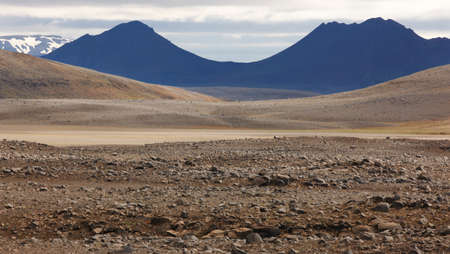 highland region: Herdubreid volcanic aerea in Iceland Highland region and F88 stone Road Stock Photo