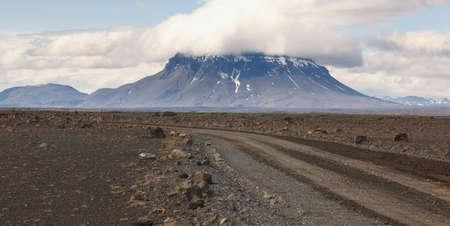 highland region: Herdubreid Mountain in Iceland Highland region and F88 stone Road