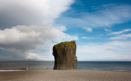 rock formation: Low tide with rock formation on icelandic sea coast