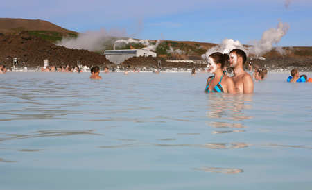 grindavik: Blue Lagoon Geothermal Spa with swimmers and Grindavik lava field Iceland