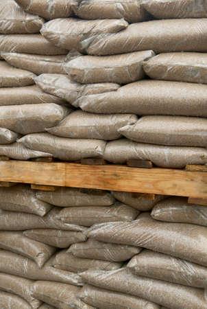 sandbag: Group of sandbags at a construction site Stock Photo