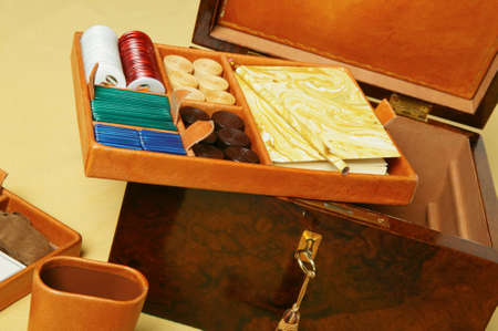 Set for casino games in wood and leather suitcase  photo