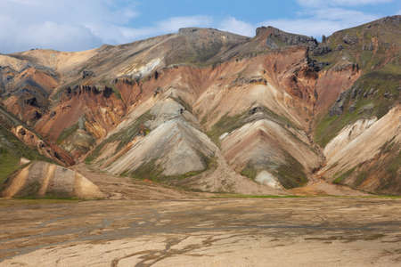 vulcanology: Volcanic landscape with rhyolite formations at Fjallabak Iceland