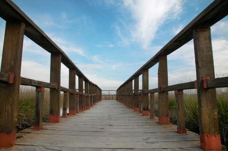Footbridge walkway to wetland park of Tablas de Daimiel Spain