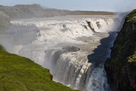 Field of lava and Gullfoss waterfall in Iceland Golden Circle photo
