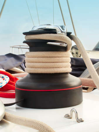 Rope cable winch detail on a yacht                                 photo