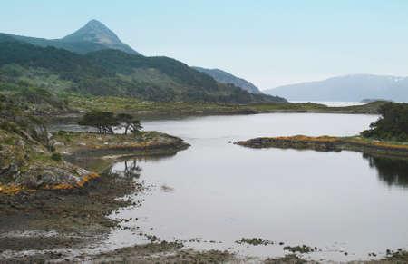 patagonian: Patagonian landscape with lake and mountains  Horizontal