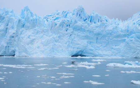 patagonian: Patagonian landscape  Glacier, icebergs and lake  Horizontal  Stock Photo