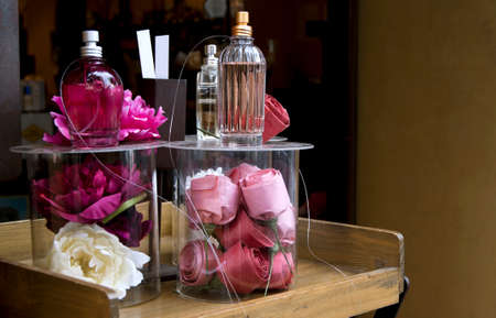 Perfume shop window with roses  Horizontal  photo