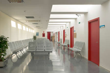 Hospital waiting area with metallic chairs  Horizontal