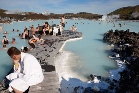 Geothermal spa with swimmers  Iceland  Blue lagoon