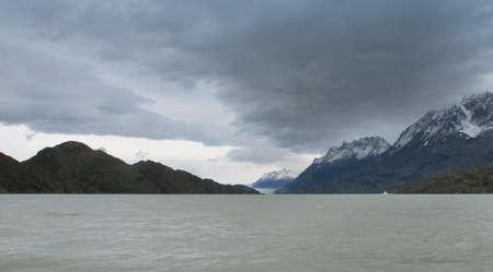 patagonian: Patagonian landscape with lake, glacier and mountains  Horizontal
