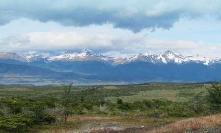 Patagonian landscape with lake and mountains  Horizontal  photo