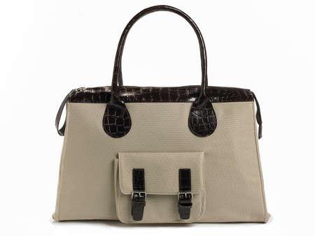 portmanteau: Female brown bag isolated on white  Horizontal Stock Photo