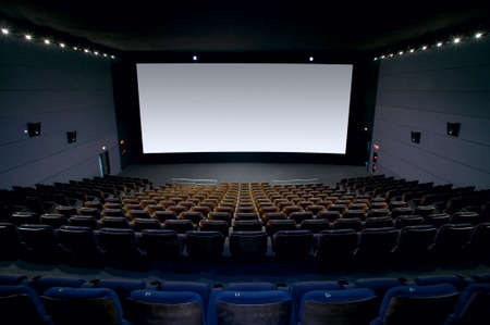 Cinema interior with screen and seats  Horizontal