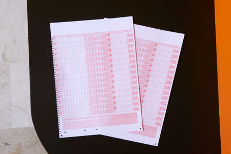 bets: Blank tickets for bets on a table  Horizontal