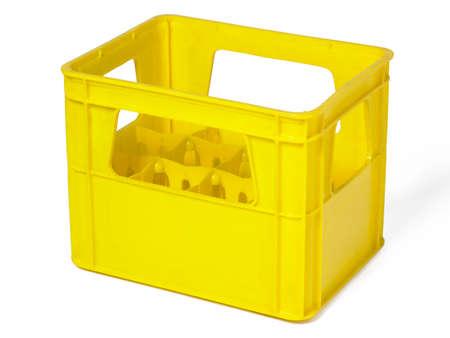 reachability: Yellow plastic case for bottles isolated on white  Horizontal