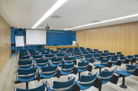 Conference room interior with projector and screen  Horizontal