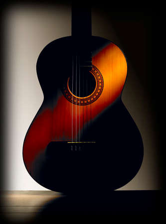 Spanish classic guitar with grey Stock Photo - 28137826
