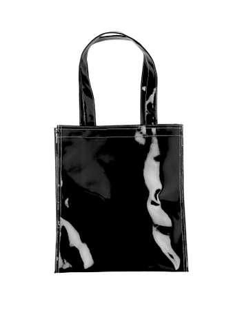 pochette: Female black plastic bag isolated on white  Vertical