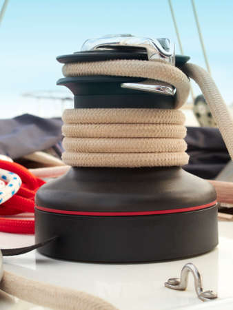 Rope detail on a sailing yatch with blue sky  Vertical