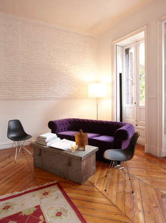 Apartment interior with white brick wall