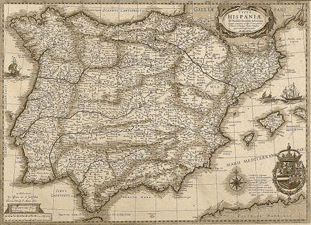 iberian: Antico Spagna e Potugal mappa in tonalit� seppia vista orizzontale Editoriali