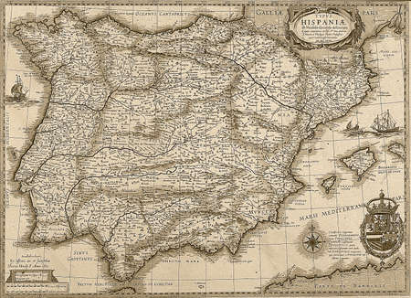 catalonia: Antique Spain and Portugal map in sepia tone  Horizontal view