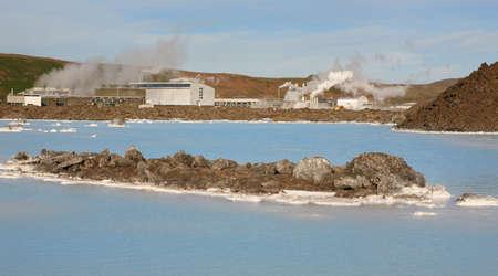grindavik: Iceland  Reykjanes Peninsula  Blue Lagoon  Geothermal Spa  Grindavik lava field  Horizontal Stock Photo