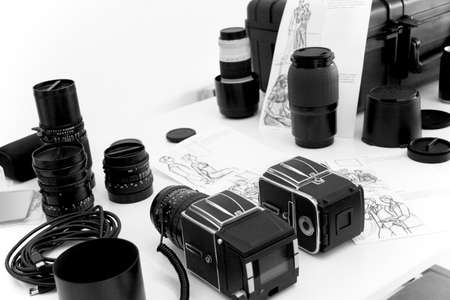 Cameras and photographic material for a shooting  Horizontal