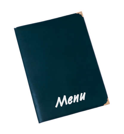 green tone: Menu book in green tone isolated on white  Vertical Stock Photo