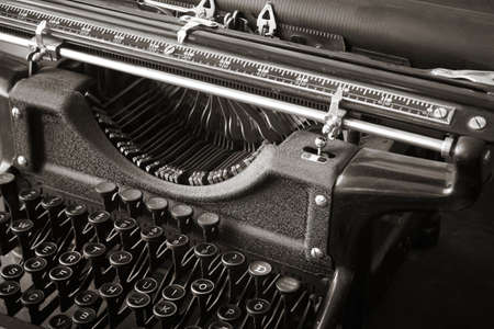 Original antique typewriter in black and white  Horizontal Stock Photo - 28683146