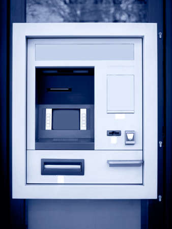 automated teller: Automated teller machine in blue tone  Vertical format