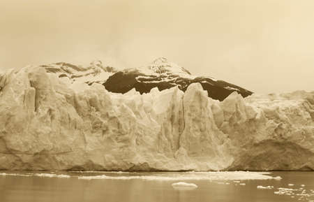 Perito Moreno glacier detail  Patagonian landscape  Argentina  Sepia tone photo