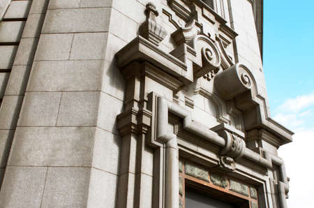 neoclassic: Neoclassic stone building facade with in grey color  Horizontal