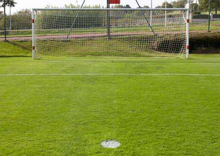 goalpost: Football goal and penalty point detail  Horizontal format Stock Photo