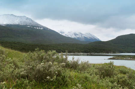 patagonian: Patagonian landscape with mountains and snow  Horizontal
