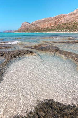 Balos beach in Crete. Mediterranean landscape. Greece. Vertical photo