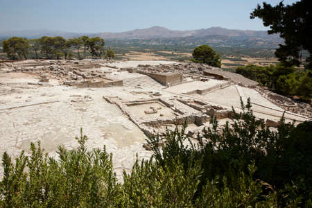 minoan: Phaestos minoan palatial city ruins in Crete. Greece. Horizontal Stock Photo