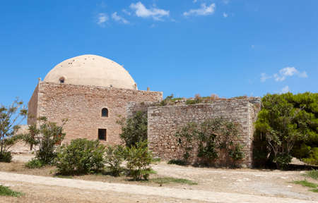 fortezza: Fortress of Fortezza in Rethymno and the Mosque. Crete. Greece. Horizontal Editorial