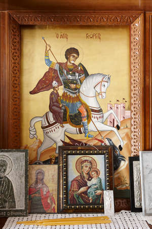 iconography: Byzantine iconography inside a cretan church. Vertical Editorial