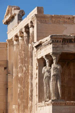 caryatids: Acropolis of Athens. Older temple of Athena Polios and Erechtheion. Greece. Vertical