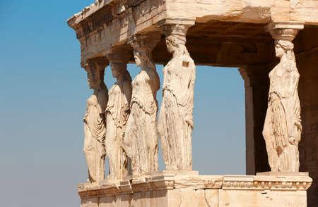 caryatids: Acropolis of Athens. Caryatids columns. Greece. Horizontal