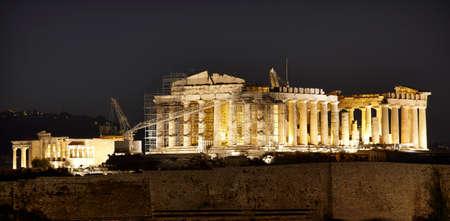 Acropolis of Athens by night. Parthenon. Greece. Horizontal photo