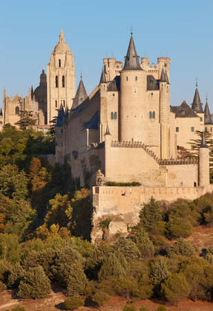 Castle and cathedral at sunset in Segovia. Spain. Vertical. Alcazar