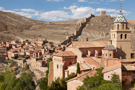 Ancient cathedral in the picturesque village of Albarracin. Spain. Horizontal Banco de Imagens