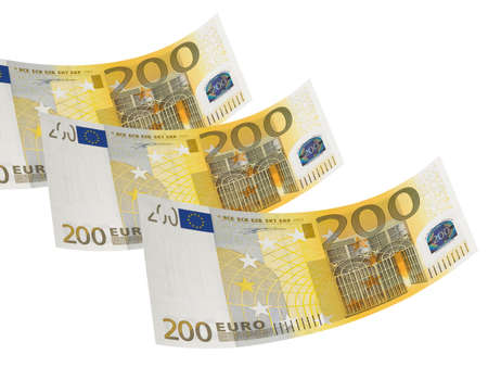 Two hundred euro bill isolated on white. Horizontal format photo